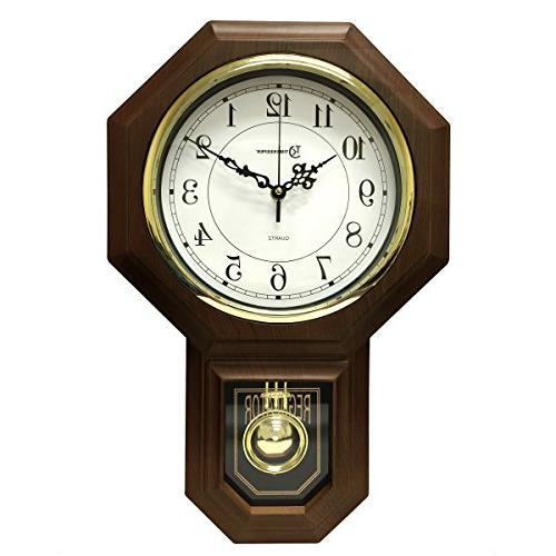 "17.5"" x 11.25"" Essex Westminster Chime Faux Wood Pendulum Wa"
