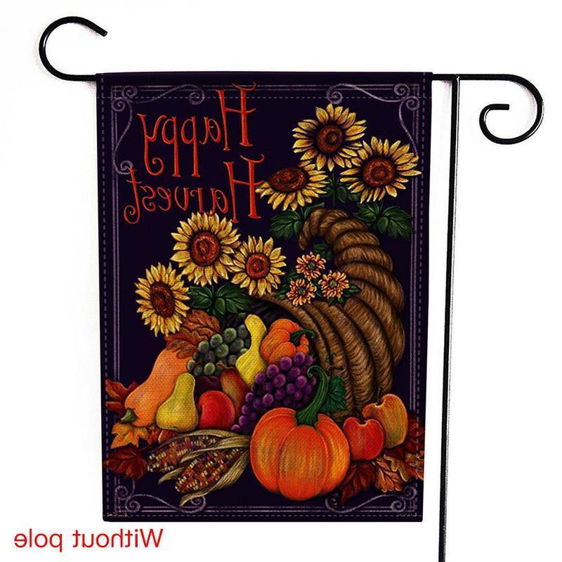 Autumn Thanksgiving Garden Flag Seasonal Garden Logo Double-