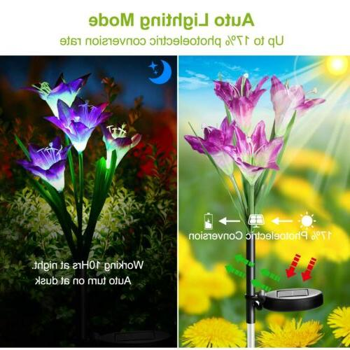 2-Pack Lily Flowers Garden Lights Outdoor Yard Decor
