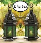 2 GREEN Moroccan Candle holder Lantern Lamp terrace outdoor