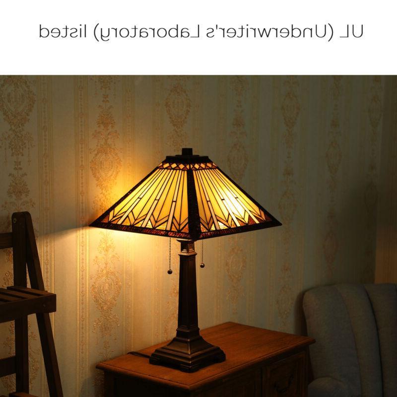 2-Light Tiffany Style Lamp Art Glass Geometry Shape Table La