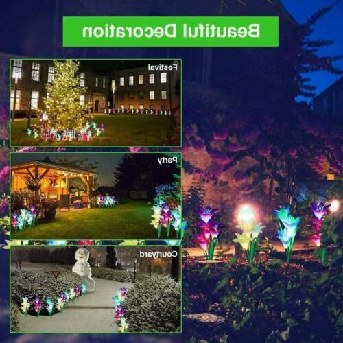 2-pack Flowers Garden Lights Outdoor Yard Decor Multi-Color