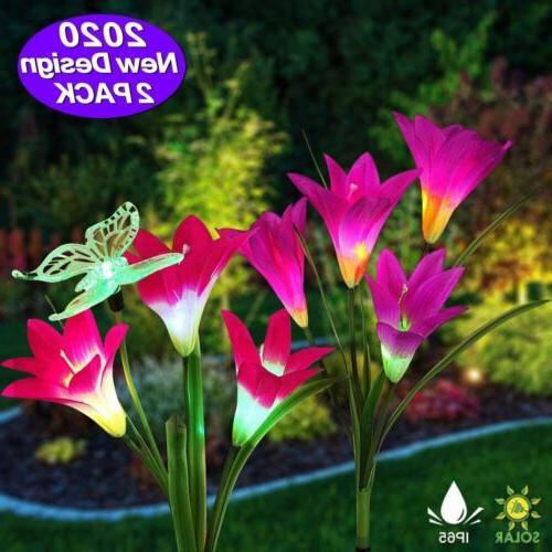 2 pack solar lily flowers garden lights