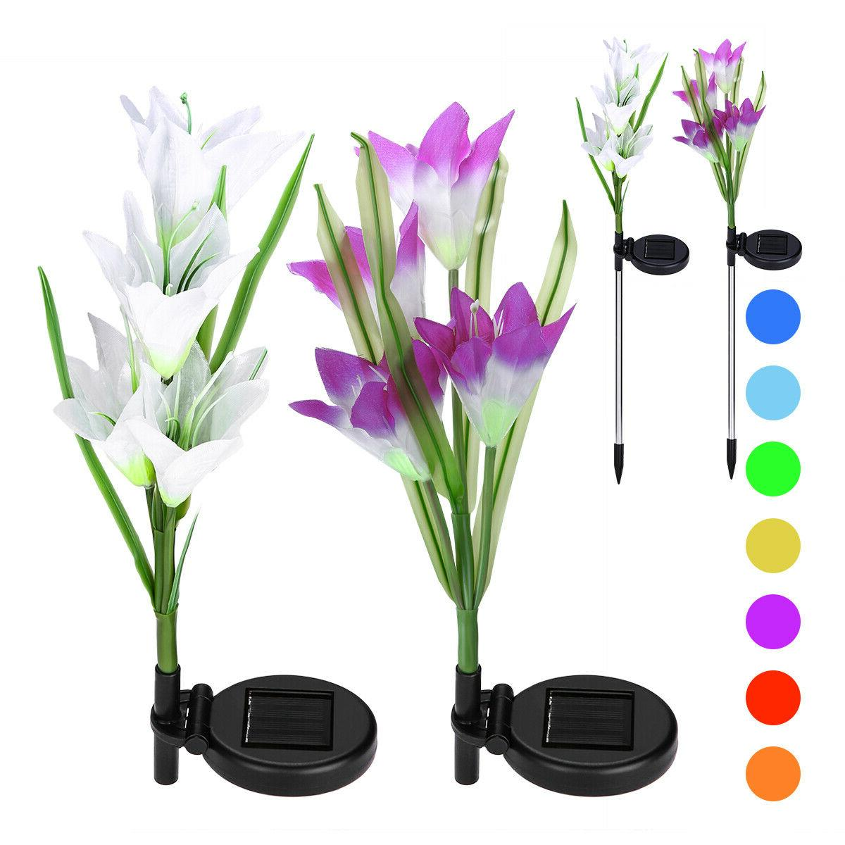 2 Pack Flowers Garden Multi-Color Outdoor Lamp