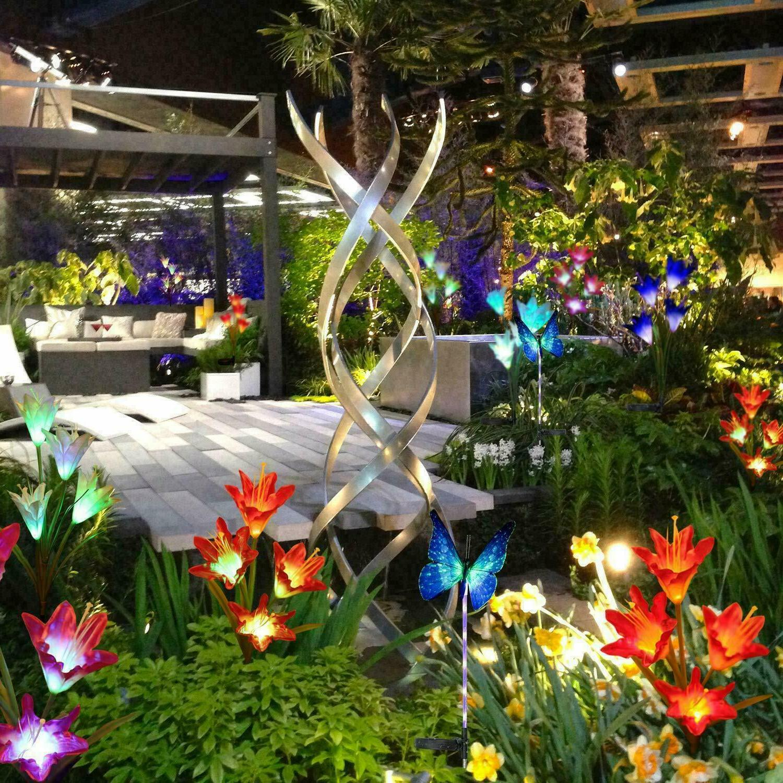 2× Solar Power LED Lily Light Waterproof Outdoor Garden Sta