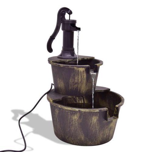 2 Tiers barrel water fountain Pump Indoor Outdoor Decor Pati