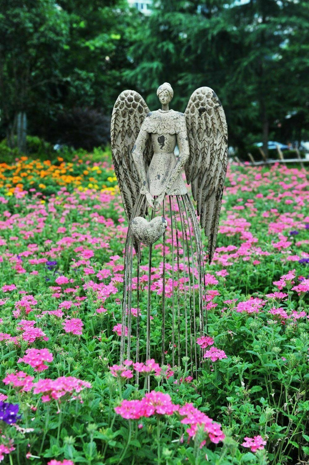 25 height antiqued metal garden angel outdoor