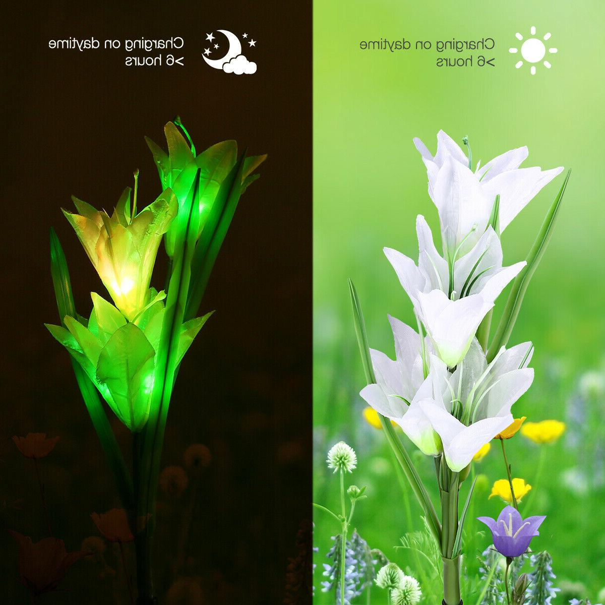 2 Solar Flowers Garden Multi-Color Decor Lamp