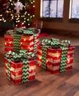 3 Lighted Gift Boxes Christmas Decoration Yard Decor Indoor