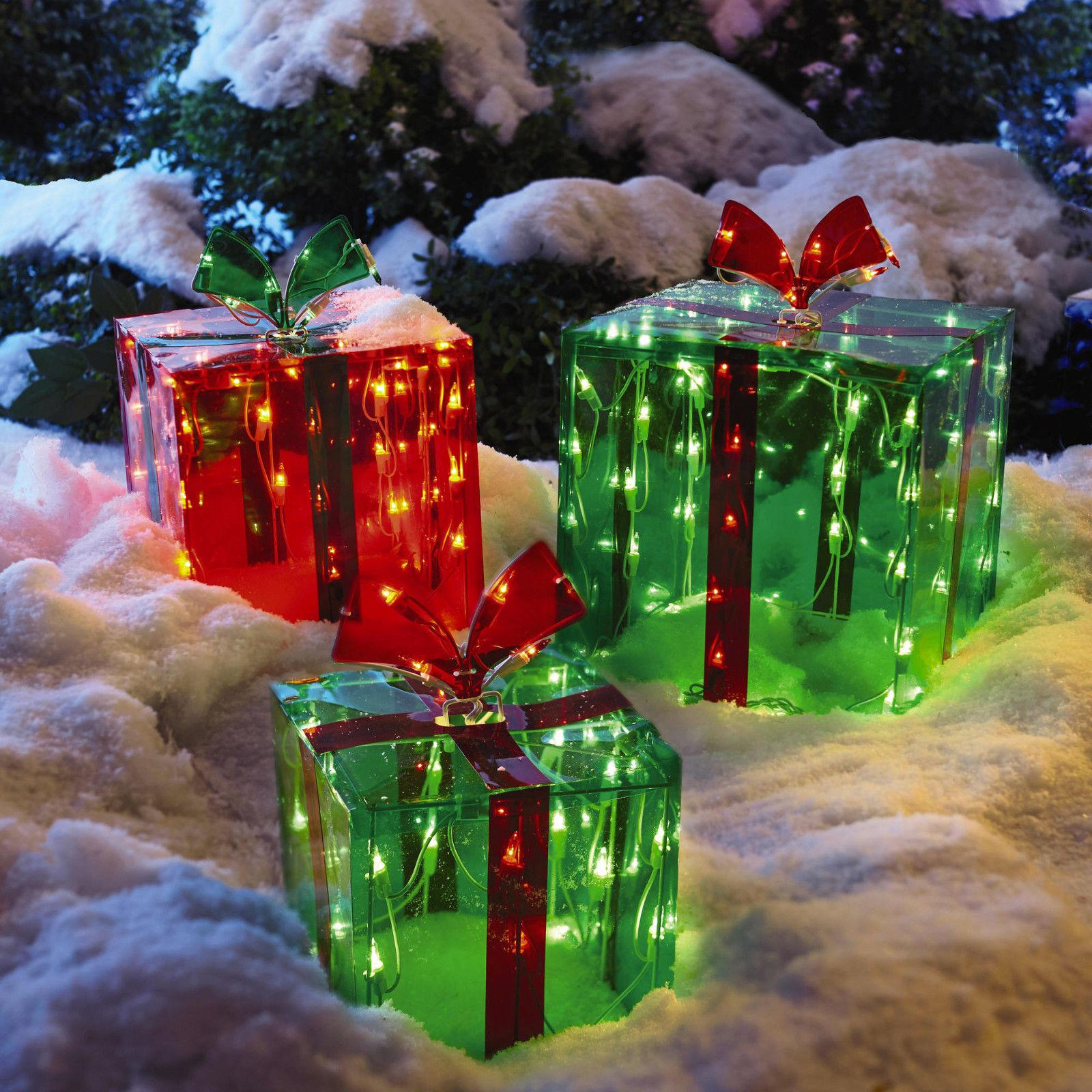 3 lighted gift boxes christmas decoration yard