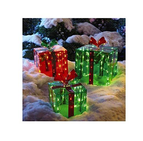 3 lighted gift christmas decoration