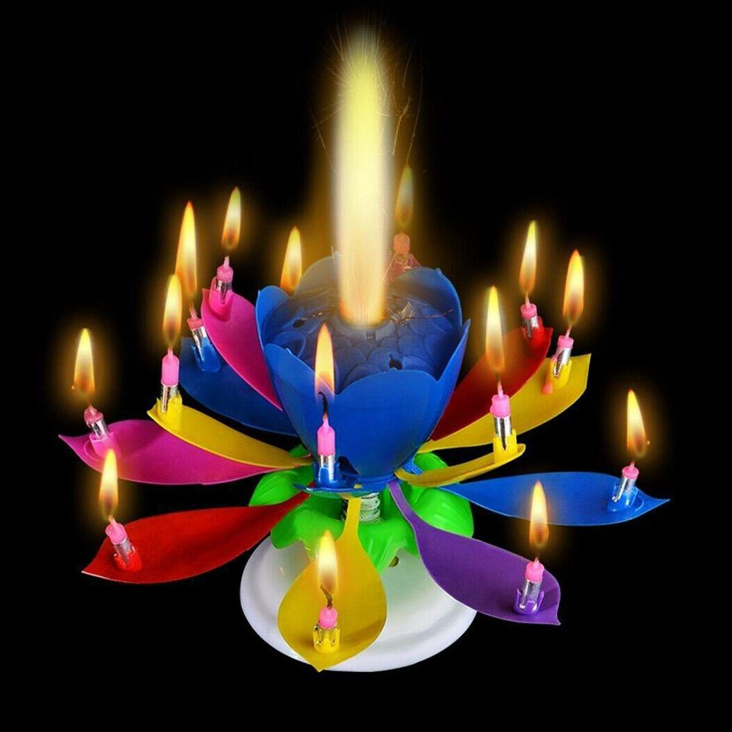 3 pack Birthday Candle Gift Multi Color Musical Candle Lotus