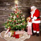 "30""/48"" Natural Burlap Christmas Tree Skirt Snowflake Xmas P"