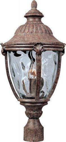 Three Light Earth Tone Water Glass Glass Post Light 3181WGET