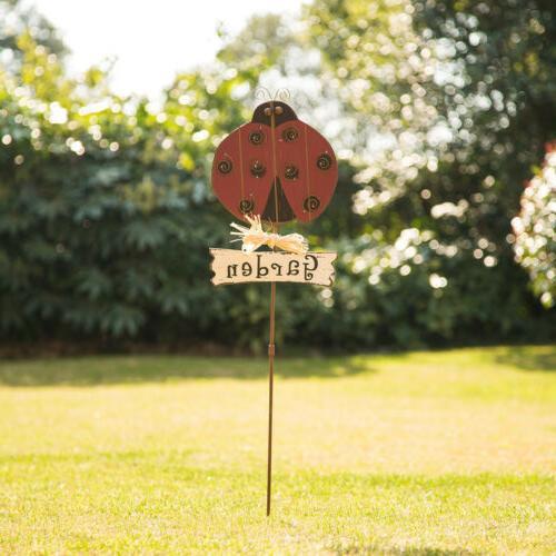 36 h antique wood rustic ladybug garden