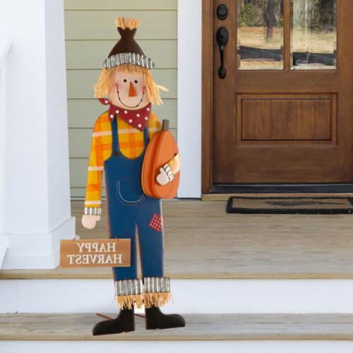 36 h metal scarecrow yard stake fall