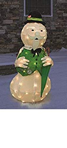 "ProductWorks 36"" Tinsel Sam The Snowman w/Umbrella Rudolph T"