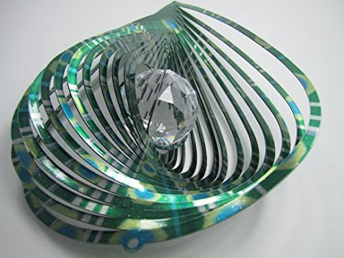 WorldaWhirl Spinner Hand Paint Crystal Teardrop