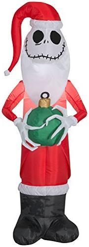 Gemmy 4' Disney Airblown Jack Skellington as Santa Christmas