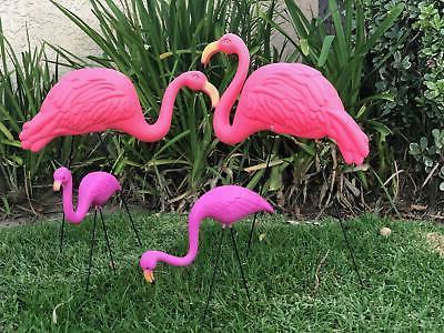 4 Pack Plastic Flamingo Lawn Statue
