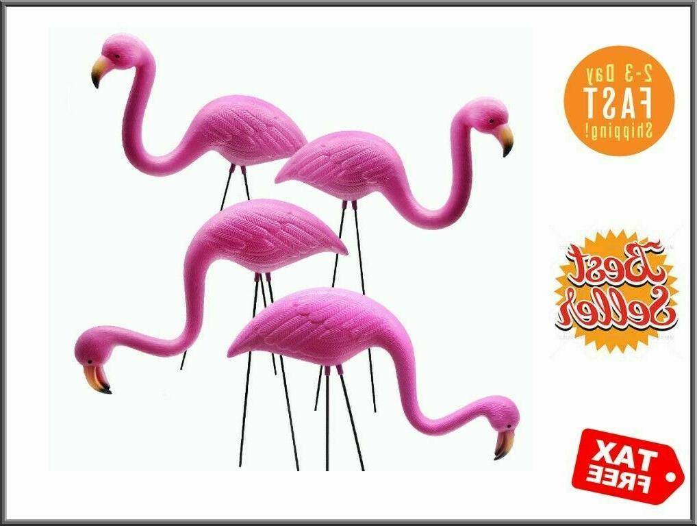 4 Pack Plastic Pink Flamingo Yard Outdoor Lawn Garden Decor