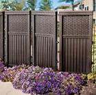"4 PANEL BROWN RESIN OUTDOOR PRIVACY SCREEN FENCE 44"" HEIGHT"