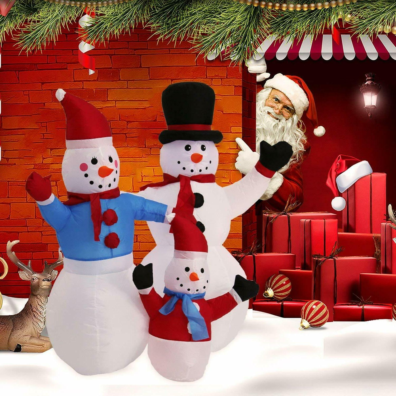 Kinbor 4Ft Snowman Family Christmas Air Blown Inflatable Chr
