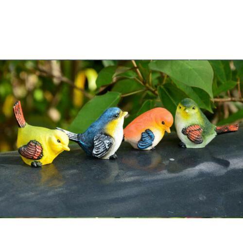 4pcs artificial resin birds animal realistic garden