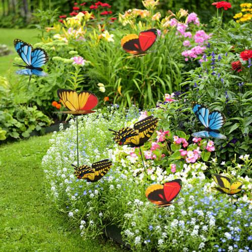 50pcs butterfly and dragonfly stakes outdoor yard