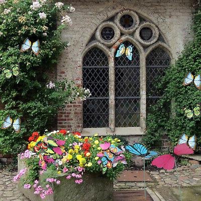 50Pcs Butterfly Stakes Yard Flower Bed Garden Decor Yard Art