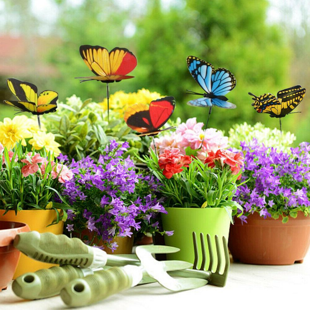 50x Colorful Butterfly Stakes Outdoor Garden Yard Flower Pot
