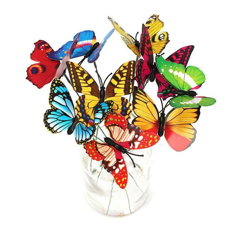 50pcs Garden Yard Planter Butterfly Stakes Dragonfly Decorat