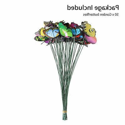 50PCS Butterfly & Dragonfly Stakes Yard Garden Flower