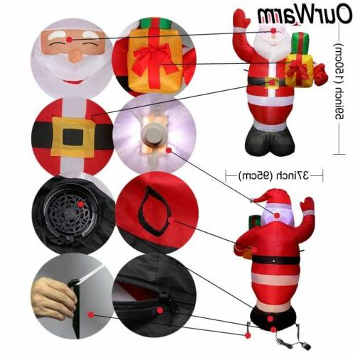 5FT Inflatable Christmas Blown Santa Claus Light Up Decor