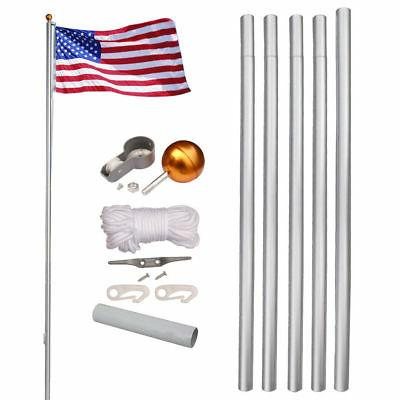 6'16'20'25' Aluminum Sectional Flagpole Kit Outdoor Halyard