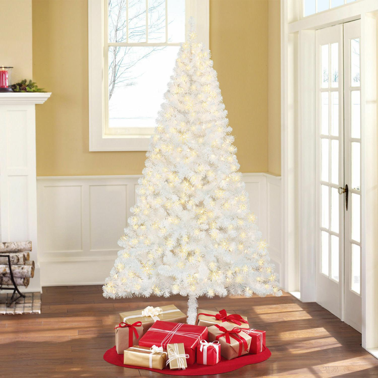 03abd241c4dd Editorial Pick 6.5Ft Pre-Lit White Artificial Christmas Tree Madison Pine C