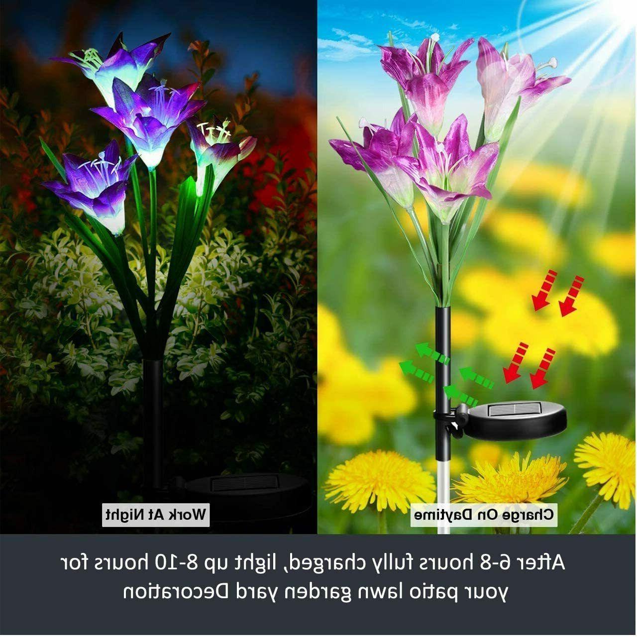 6 Color-Changing LED Solar Flowers Lights Garden