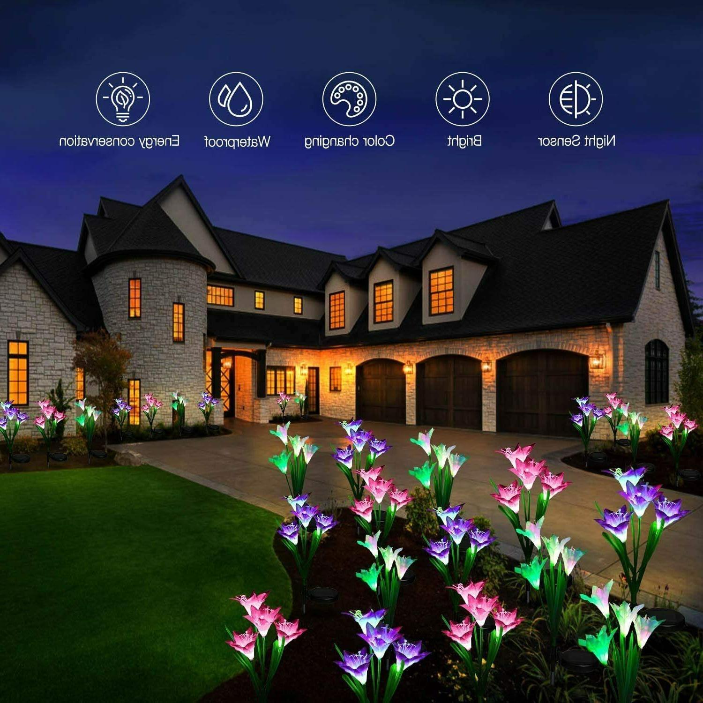 6 Pack Solar Flowers Stake Lights Garden