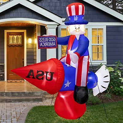 LOOHUU 6FT Tall Patriotic Independence Day 4th of July Infla