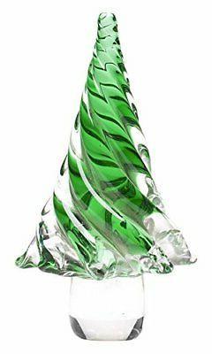 "Glitzhome 7.9""H Medium Green Striped Glass Christmas Tree Ta"
