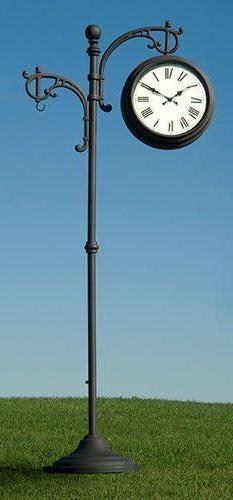 "73"" Outdoor Metal Pedestal Clock Thermometer! Barometer Yard"