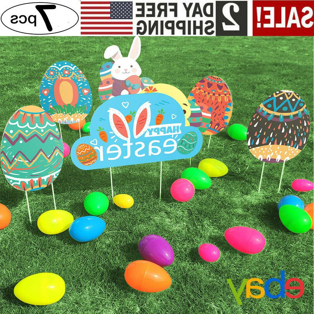 7Pcs Easter Yard Signs Decorations Outdoor Indoor Hunt Game