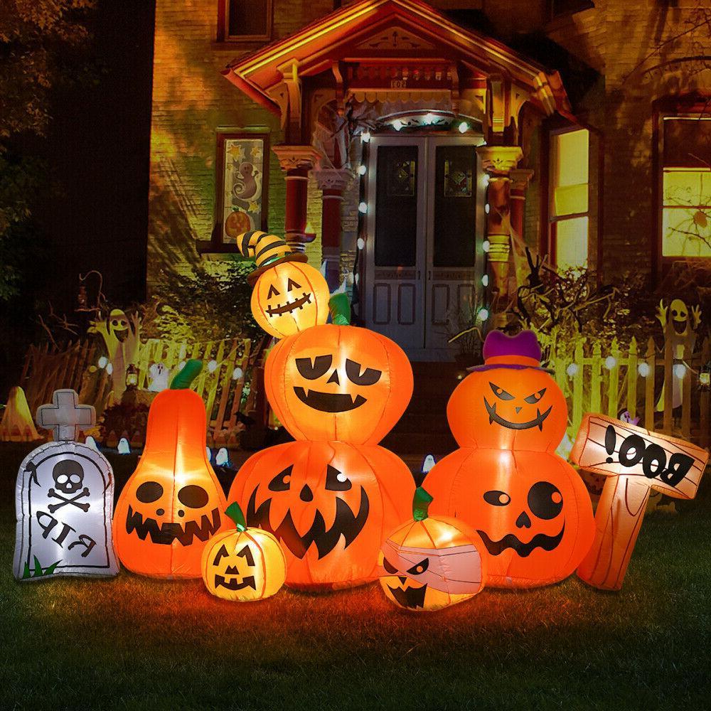 8 foot wide halloween inflatable tombstone pumpkins