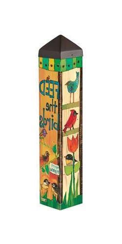 "Feed The Birds Art Pole 20"" High 4"" wide x 4"" deep Spring Su"
