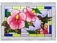 Hummingbird Horizontal Art Glass Panel 14 x 20