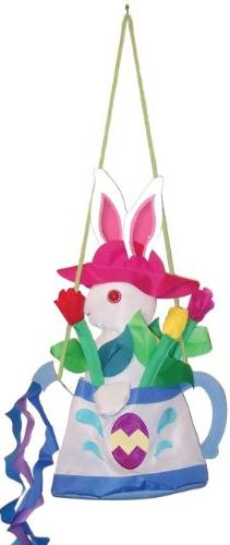 In the Breeze Watering Can Bunny Swinger Outdoor Hanging Dec