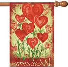 Toland Garden Hearts 28 x 40 Welcome Spring Valentine Red He