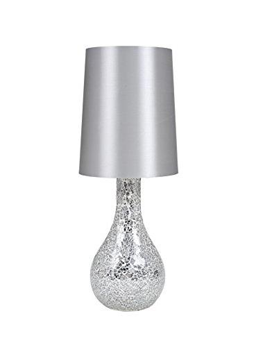 Urban Shop Mosaic Glass Lamp with Satin Shade, Silver