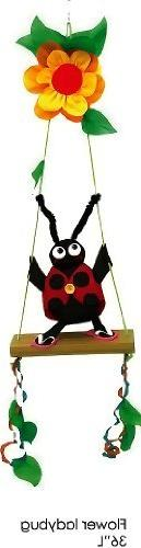 Whimsical Flower Ladybug on a Swing Bright & Colorful Twiste