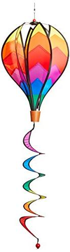 Windspiration Hot Air Balloon Twist Garden Wind Spinner, Sun